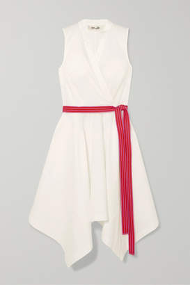 Diane von Furstenberg Marlene Belted Wrap-effect Cotton-blend Dress - White