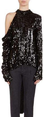 Magda Butrym Oxford Sequined Cold-Shoulder Top