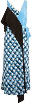 Diane von Furstenberg - Draped Printed Silk-blend Wrap Dress - Blue $570 thestylecure.com