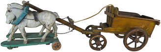 One Kings Lane Vintage French Painted Horses Pulling Work Cart