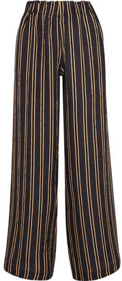 Paul & Joe Vertige Striped Crinkled-silk Crepe Wide-leg Pants - Navy