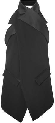 Koché - Satin-trimmed Wrap-effect Open-back Crepe Top - Black