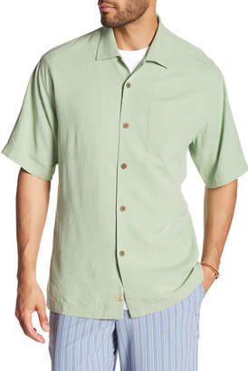 Tommy Bahama Short Sleeve Tiki Palm Silk Original Fit Shirt $98 thestylecure.com