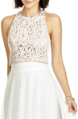 Dessy Collection Lace Halter Style Crop Top