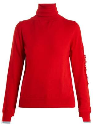 Barrie - Thistle Roll Neck Contrast Panel Cashmere Sweater - Womens - Red Multi