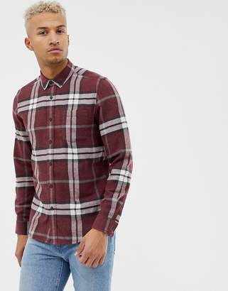Asos DESIGN regular fit brushed check shirt in burgundy