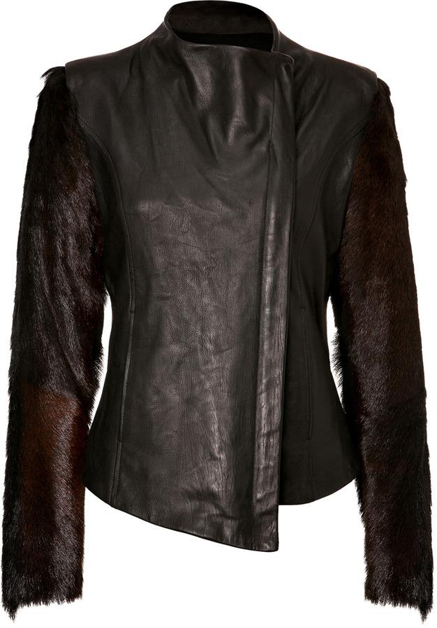 Helmut Lang Carmine Fur Sleeve Leather Jacket