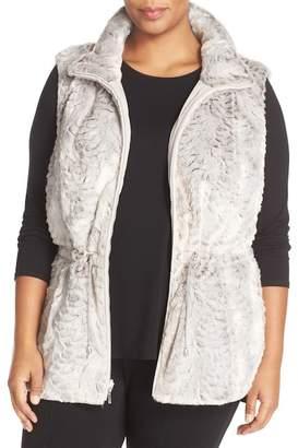 Gallery Reversible Faux Fur Vest (Plus Size)