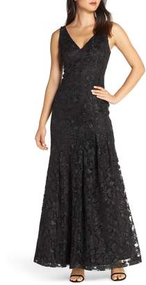 Vince Camuto Lace Asymmetrical Gown