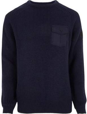 River Island Navy chest patch pocket ribbed knit sweater