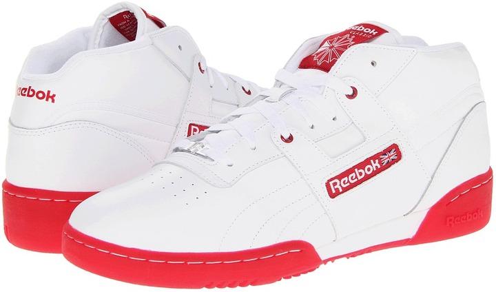 Reebok Workout Mid R12 (White/Flash Red/Ice) - Footwear
