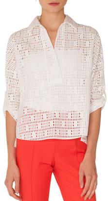 Akris Punto Bracelet-Sleeves Dropped-Shoulder Lace Kimono Top
