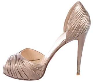 087f3ed8802b Christian Louboutin Gold Peep Toe Pumps - ShopStyle