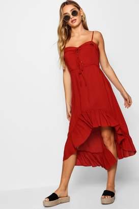 boohoo Lace Up Ruffle Hem Midi Dress