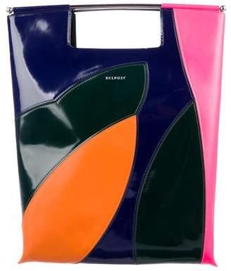 DELPOZO Colorblock Patent Leather Satchel
