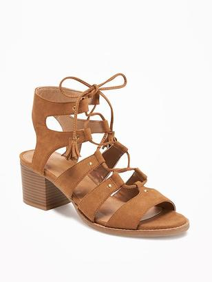 Sueded Gladiator Heeled Sandals for Women $36.94 thestylecure.com