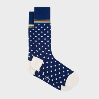 Men's Navy Polka Dot Socks With Multi-Stripe Trim $30 thestylecure.com
