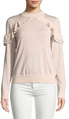Kate Spade Ruffle Studded Wool Sweater