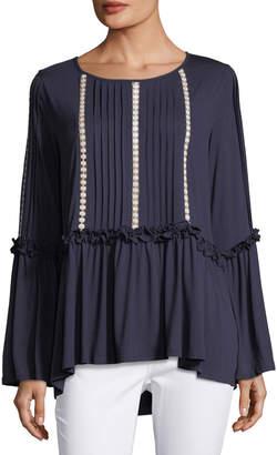 Lumie Pleated Bell-Sleeve Tunic