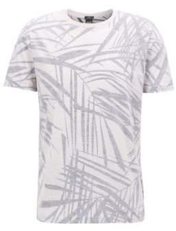 BOSS Hugo Leaf-Print Cotton Linen T-Shirt Tessler XL Natural