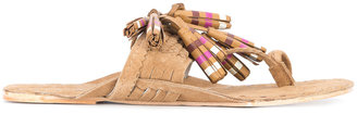 striped tassel Scaramouche sandals