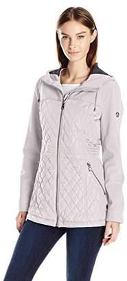 Calvin Klein Women's Rain Anorak Jacket with Soft Shell Combo Quilt
