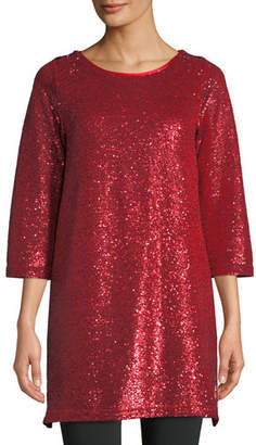 Joan Vass Petite Easy 3/4-Sleeve Sequin Tunic