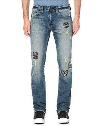 Buffalo David Bitton Men's Evan-x Slim Straight Fit Sanded and Worn Stretch Denim Pant