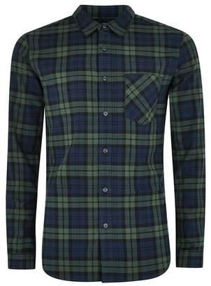 Topman Mens Multi Black Watch Check Stretch Skinny Shirt