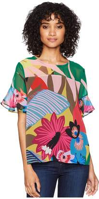 CeCe Ruffle Sleeve Jungle Splendor Blouse Women's Blouse