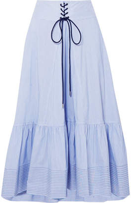 3.1 Phillip Lim Lace-up Striped Cotton-blend Poplin Midi Skirt - Blue
