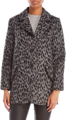 Lucky Brand Grey Leopard Print Coat