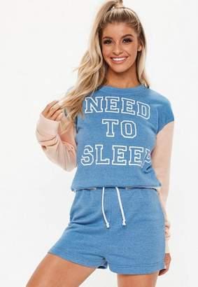 Missguided Blue Need To Sleep Short Pyjama Set