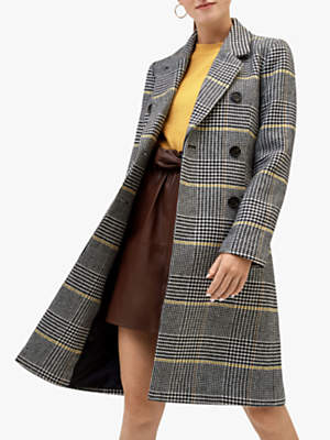 Check Print Longline Coat, Multi