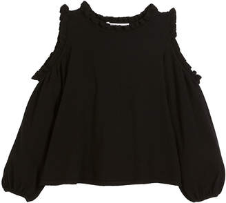 Milly Minis Cold-Shoulder Ruffle-Trim Sleeveless Top, Size 8-14