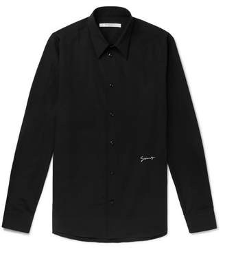 Givenchy Slim-Fit Logo-Embroidered Cotton Shirt