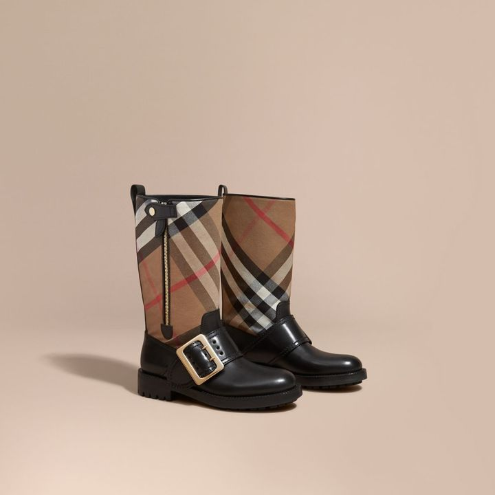 Burberry House Check Buckle Detail Leather Boots