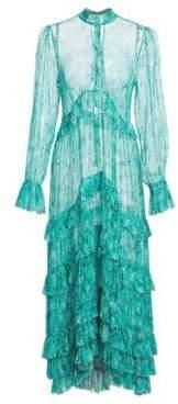 Zimmermann Moncur Pleated Silk Floral Shirtdress