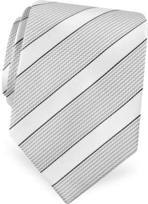 Forzieri Gold Line- Silver and Ivory Bands Woven Silk Tie