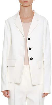 Jil Sander Notched-Collar Button-Front Cotton-Twill Blazer