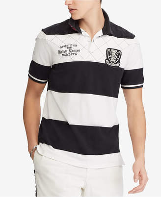 Polo Ralph Lauren Men's Classic Fit Rugby Stripe Embroidered Patch Cotton Polo