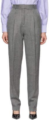 Tibi Grey Herringbone Sculpted Trousers