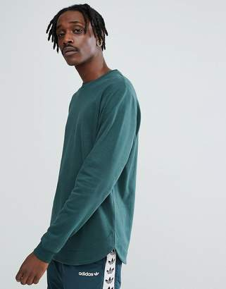 Asos Longline Sweatshirt With Curved Hem In Green