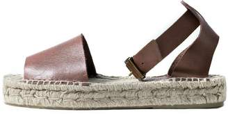 Howsty Brown Leather Espadrille
