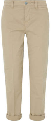 J Brand Inez Stretch-cotton Twill Straight-leg Pants - Beige