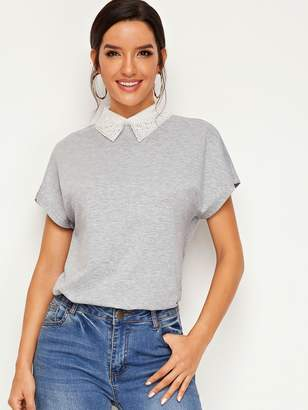 Shein Contrast Embroidered Organza Collar Heather Grey Tee