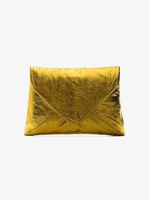 Dries Van Noten Gold envelope leather clutch bag