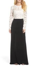 Tadashi Shoji Crochet Lace & Crepe Gown