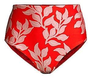PatBO Women's Leaf-Print High-Waist Bikini Bottom
