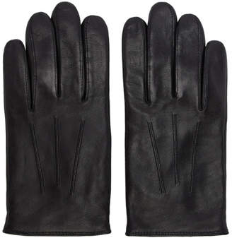 HUGO Black Leather Gloves